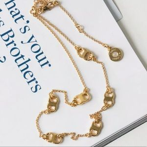 New Tory Burch Gemini Link Logo gold tone necklace